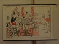 Wandbild Englischunterricht Betty 119x80 vintage english lession chart~1960 PIM0
