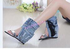 HOT Ladies Peep Toe Sandal Denim Retro Vintage Cowboy Hi Top Boots Tassel Wedge
