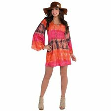 Adult Ladies Tie Dye 1960s 70s Flower Power Hippy Festival Fancy Dress Costume