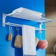 Double Chrome Towel Rail Holder Wall Mounted Bathroom Holder Storage Rack Shelf