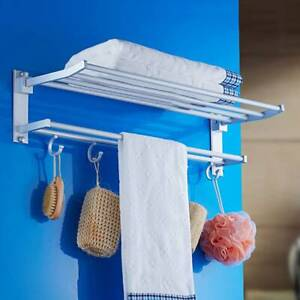 Double Chrome Towel Rail Holder Wall Mounted Bathroom Holder Storage Rack Shelf