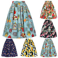 Womens Pleated Maxi Long Boho Skirt Vintage Casual Cotton Ladies Skirts 1#~8#