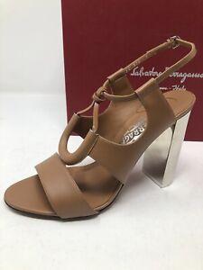 $750 New Salvatore Ferragamo Womens Brown Shoes Sandals Heels Size 8 38