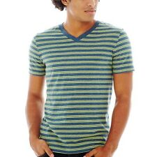 Arizona Striped V-Neck Tee Laguna Stripe New With Tags Size M