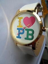 I LOVE PAULS BOUTIQUE WATCH LOVE HEART QUARTZ WRISTWATCH P B PA013WHO WHITE STRA