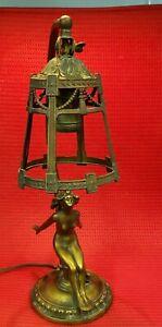 ❤  Vtg 1920's RONSON ART METAL WORKS AMW ART DECO NUDE LADY LAMP A M W Antique