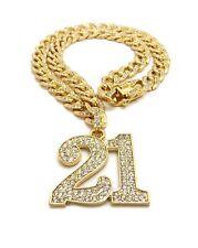 "24"" Cz Cuban Choker Chain Fashion Necklace Iced Savage 21 Pendant & 18"" 20"" 22"""