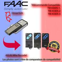 Compatible avec FAAC TM 433DS-1,TM 433DS-2,TM 433DS-3 Télécommande de remplaceme