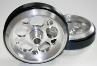 "Two NEW Universal Billet Aluminum 4"" Wheelie Bar Wheels 5 Round Hole Design"
