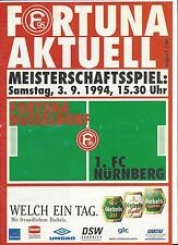 FORTUNA DÜSSELDORF - 1.FC NÜRNBERG, 03.09.1994, Programm 2. Liga Saison 94/95