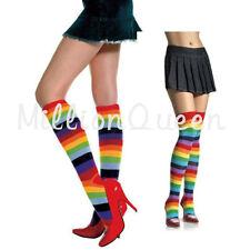 Over the Knee Rainbow Multi Coloured Stripe Socks Thigh High Fancy Dress