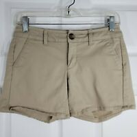 AMERICAN EAGLE OUTFITTERS Size 0 Beige Stretch Midi Khaki Chino Shorts Womens