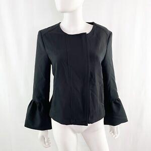 NEW Banana Republic Black Bell Sleeve Zip Up Jacket Top Size 10