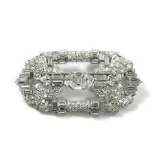 Art Deco 8.43 ct Diamant Brosche in Platin Antik um 1920 B:5,5 cm Diamond Brooch