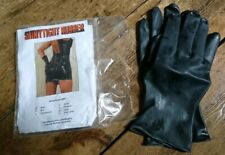 BRAND NEW - BLACK  Latex Rubber Gloves (UK): L