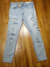 American Eagle Hi Rise Jegging Jeans Size 12 X Long Light Destroyed Patches NWT