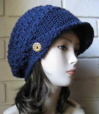 Navy Blue Slouch Newsboy Hat Crochet Slouchy Visor Beret Tweed Cap