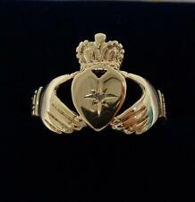 Vintage c.1989 Diamond Claddagh Ring 375 (9ct) Gold - Size V (US - 10.5) - 2.8g