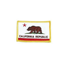 CALIFORNIA REPUBLIC USA STATE SQUARE FLAG EMBROIDERED IRON-ON PATCH CREST BADGE