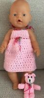 Baby Born dolls clothes - Hand made crochet nighty and matching teddy bear