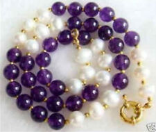 "Beautiful 8mm Amethyst Gems Beads & Real Natural White pearl Necklace 18"" AA"