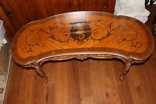 Antique Art Nouveau French Carved Kidney Table W. Marquetry & Fitted Glass Top