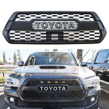 Front Grille Bumper Hood Matte Grill With Amber Light For 2016-2020 Tacoma PRO