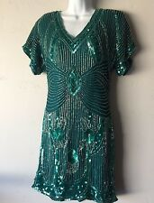 Vintage Scala Silk Short Teal Green Beaded Sequined Prom Dress Open Back 6/8