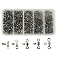 300Pcs/box Fishing Rolling Barrel Swivel with Solid Ring Tackle Connector 2#-10#
