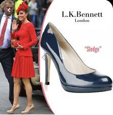 LK BENNETT Teal Sledge Court Shoes Heels Patent Pumps 38.5 UK 5.5 Kate Middleton
