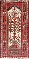 Tribal Geometric Balouch Oriental Area Rug Wool Hand-Knotted Ivory Carpet 3'x6'