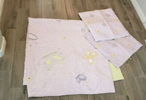 Pottery Barn Kids 3 Pc Set Lindsey Lavender Green Butterfly Quilt 2 Shams QUEEN