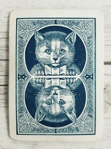 Swap Card, Genuine Vintage, Antique Wide Reversible Playing Card, Cat With Bow