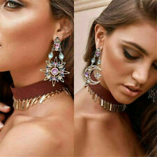 1 Pair Elegant Crystal Drop Long Moon Sun Pendant Stud Earrings Women Gift New