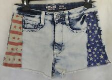 MOSSIMO Womens Juniors Denim Blue Tie Dye Stars Striped Jeans Shorts Sz. 7 USED