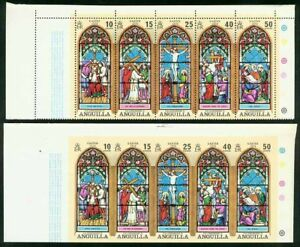 Anguilla 1972 Easter Stained set proof strip of five-1