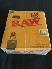 50 x Raw Classic King Size Slim Rolling Papers Full Box Unrefined Organic 110mm