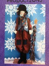 Pattern Primitive Huge Snowman Doll & Christmas Tree Uncut Oop Whistlepig Creek