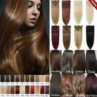 AAAA+ Clearance Clip In Human Hair Extensions 100% Natural Remy Full Head Hair #