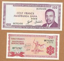 1988 Burundi 100 Francs & 1989 20 Francs - Crisp Unc Note , Lot of 2 pc.