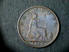 Victoria 1862 Bronze Farthing, laureate bust. Grade fine.