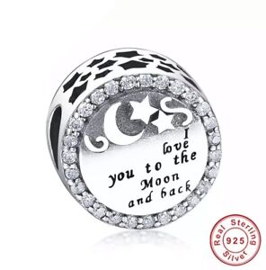 New I Love You To The Moon & Back Cz Charm Genuine 925 Sterling Silver