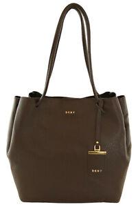 DKNY Shoulder Shopper Travel Tote Bag Dark Brown Pebbled Leather Medium Handbag