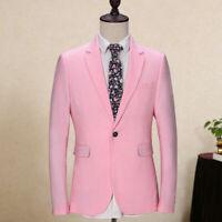 Men's Pink 3 Piece Suit Slim Fit Blazer Groom Tuxedos Wedding Prom Party Custom