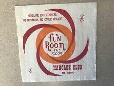 Harolds Club Hotel Casino Fun Room 7th Floor Vintage Napkin Reno Nevada