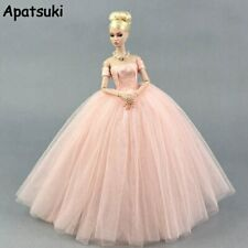 Pink Fashion Wedding Dress for Barbie Doll Clothes Princess Evening Party Gown