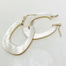 Swanky Mother of Pearl 14k Gold Hoop Earrings (6490)