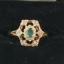 EMERALD LACE Diamonds, Emerald and 14kt Gold RING from the FRANKLIN MINT