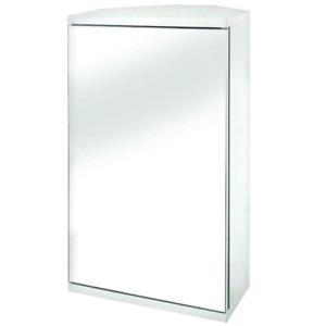 Framed Surface Mount Corner Bathroom Glass Mirror Storage Medicine Cabinet White
