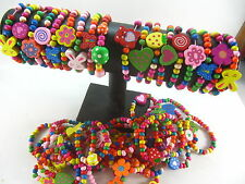 12pcs mixed colour wood kids children's party birthday wooden wristband bracelet